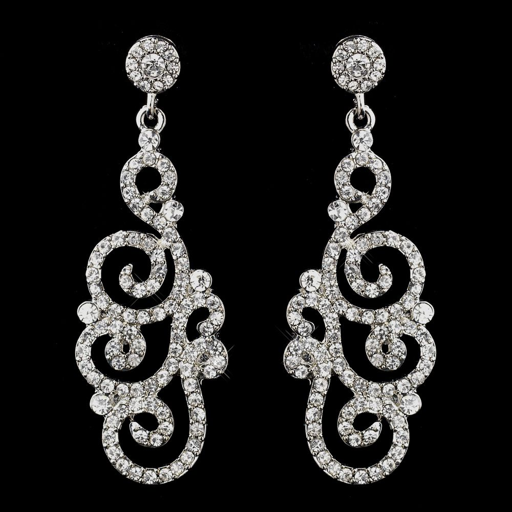 Silver Swirl Dangle Earrings For Quinceanera