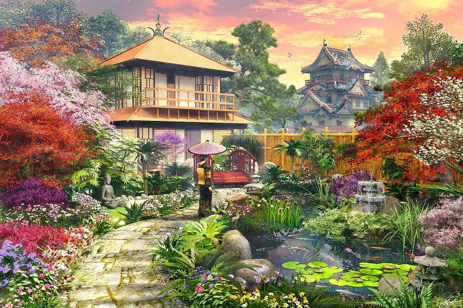 Photo wallpaper non-japanese garden mural flowers trees bridge forest 642v