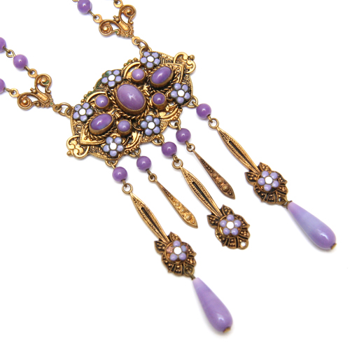 "Czech Ornate Purple Necklace Intricate Czech necklace with purple glass beads and cabochons. Circa 1920. Measures 20"". Stamped 'Czechoslovakia'."