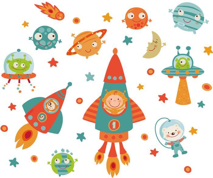 Vinilo infantil espacial happy astronautes pinterest for Vinilos infantiles originales