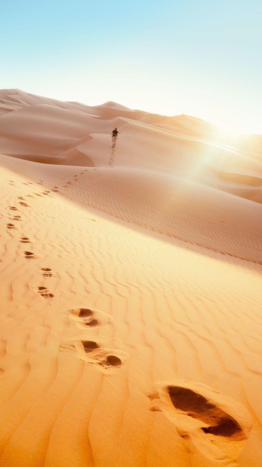 Man Footprints Desert Smartphone Wallpaper And Lockscreen Hd Check More At Https Phonewallp Nature Iphone Wallpaper Best Wallpapers Android Wonder Wallpaper
