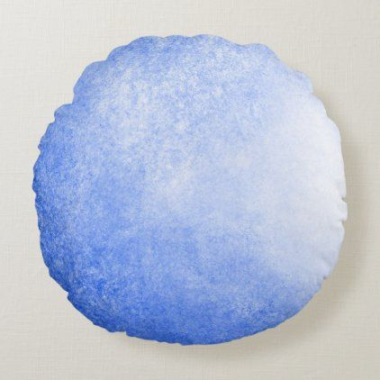 Blue and White Abstract Wave Energy Painting Round Pillow
