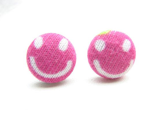 Smiley Face Earrings Pink and White Happy Smiling Face Pattern Fabric Button Stud Earrings
