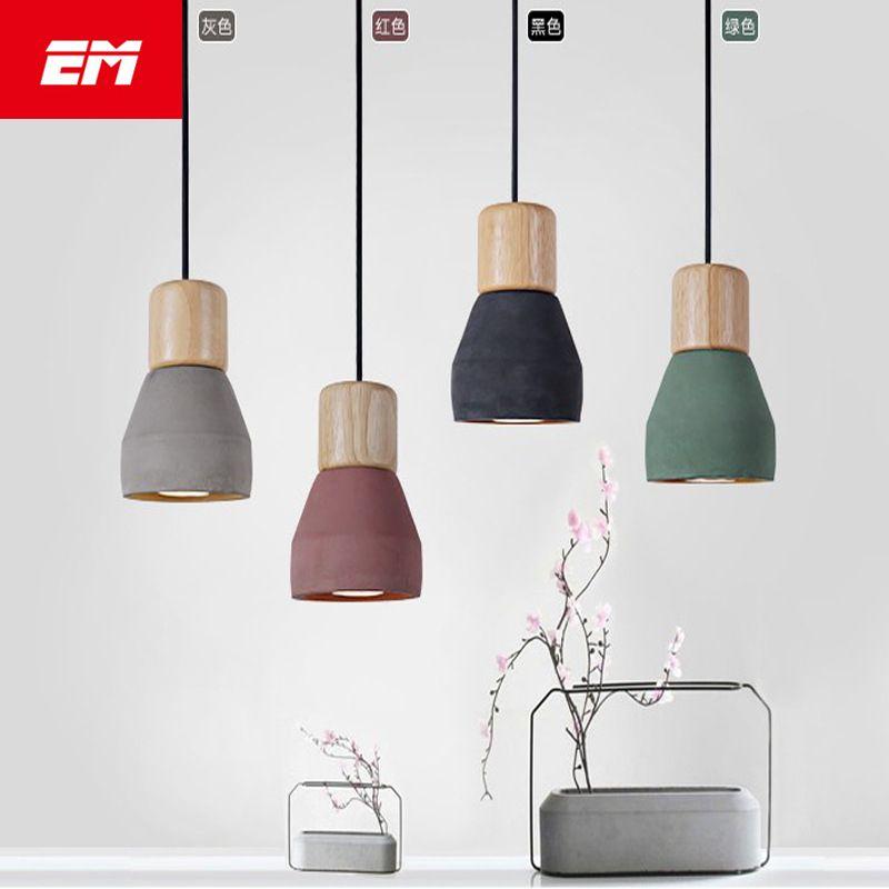 Country Style Cement Led Pendant Light 120cm Wire E27 Socket Droplight 4 Colors Wood Indoor Decoration K Led Pendant Lights Kitchen Hanging Lamps Pendant Light