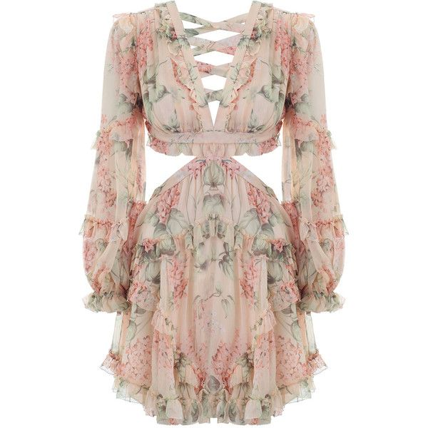214da8f30db2 ZIMMERMANN Prima Floating Cut Out Dress ($760) ❤ liked on Polyvore  featuring dresses, long-sleeve floral dresses, sheer dress, swim dresses,  see through ...