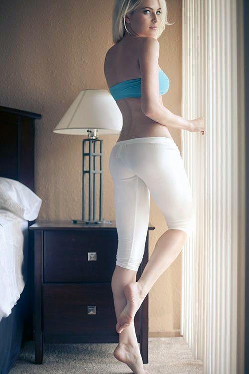 Hot blonde girls yoga pants ass