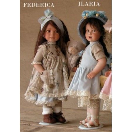 Dolls, Ilaria and Federica, Collectible Porcelain Doll - Height: 15 in