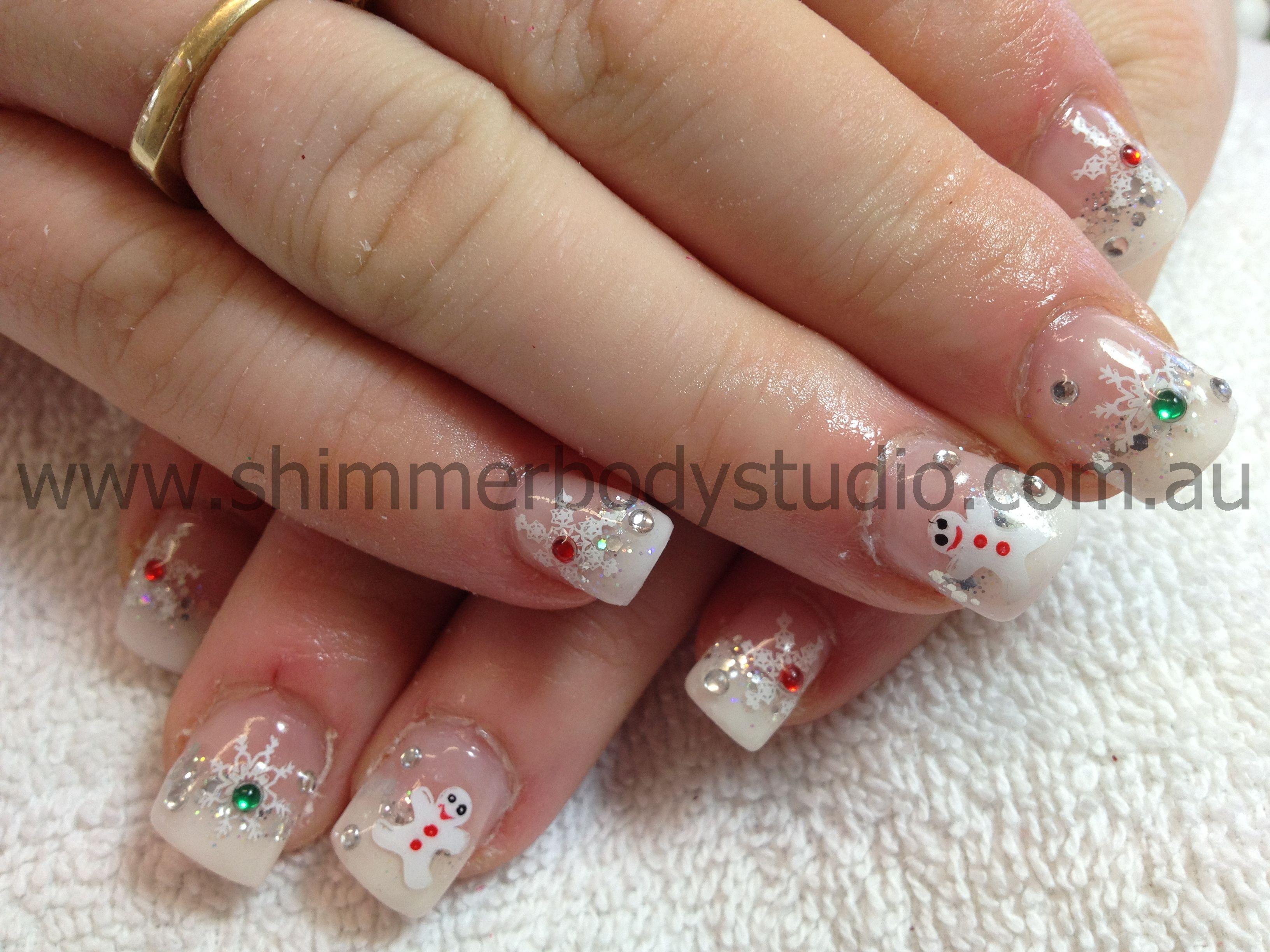 Gel nails christmas nails crystals dimantes snowflake
