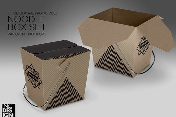 73f00cc29332 Noodle Box Packaging Mock Up by INC Design on @creativemarket ...