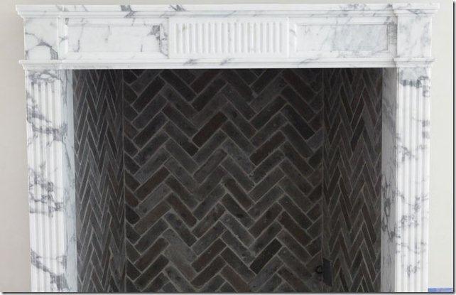 herringbone inside fireplace