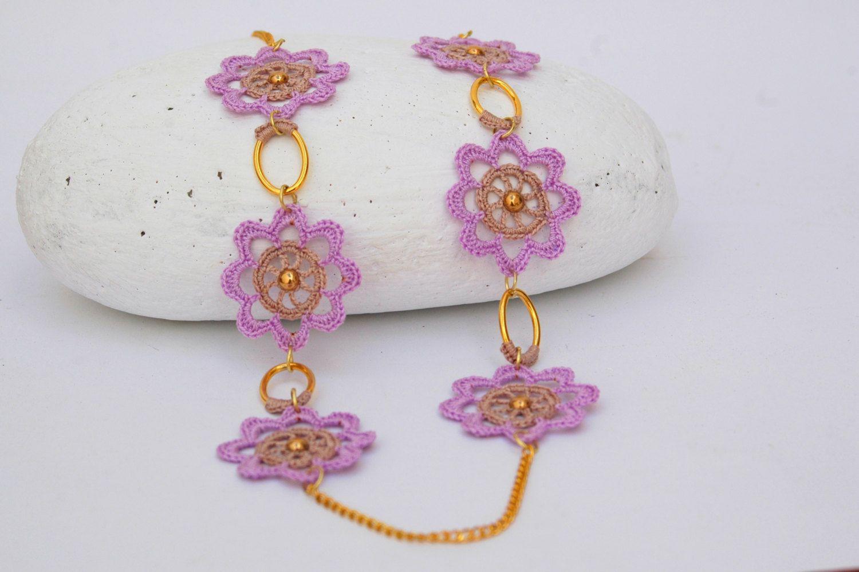Leichte lila Halsband mit Ohrringen - Gehäkelter Schmuck - Textil ...