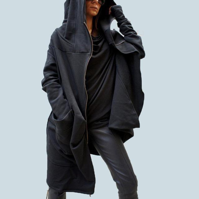 Women Hoodie Long Hooded Sweatshirt Sweater Asymmetric Coat Jacket Overcoat New