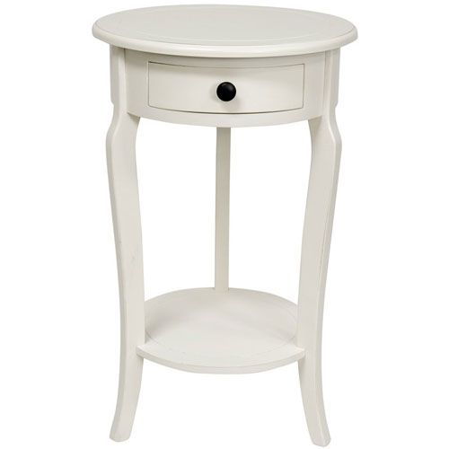 Oriental Furniture 26 Inch Classic Round End Table W Drawer White Width 15 5 Inches On Sale Comodini