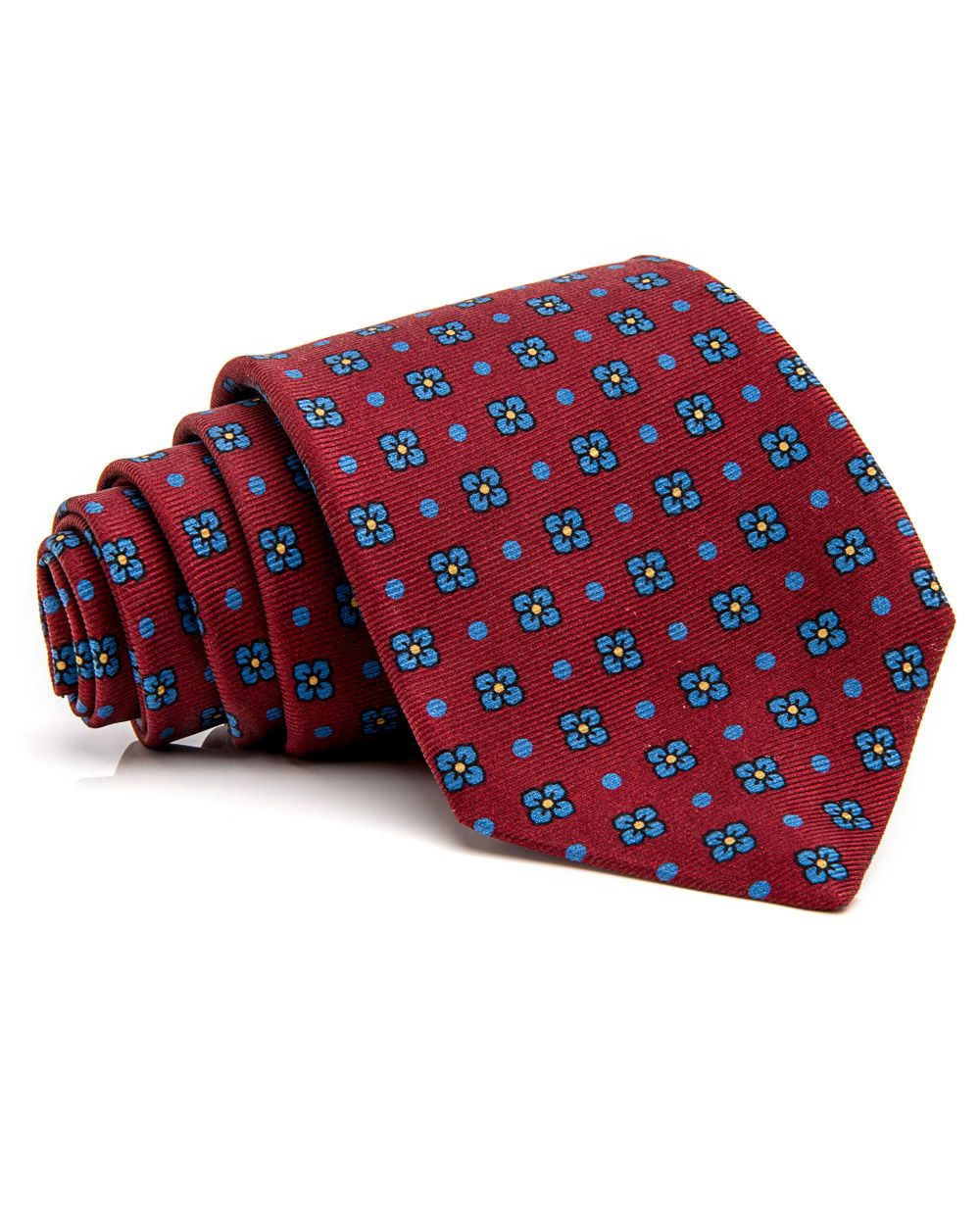 Kiton Wine and Blue Floral Tie 59'' long 3.5'' wide 100% silk Handmade in Italy