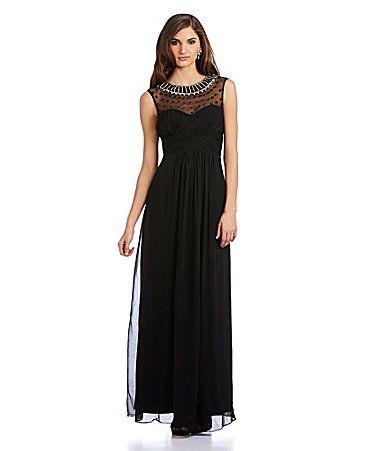 deb2cc787683 JS Collections Beaded Illusion Neckline Chiffon Gown #Dillards ...