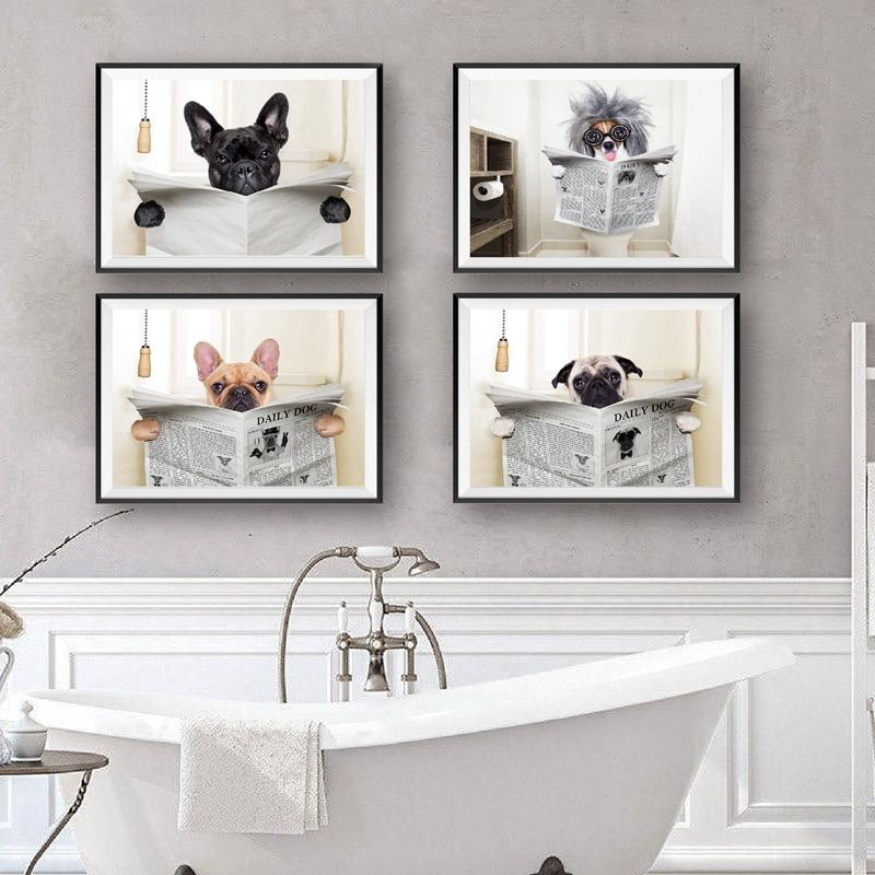 Dog reading newspaper toilet wall art canvas poster prints