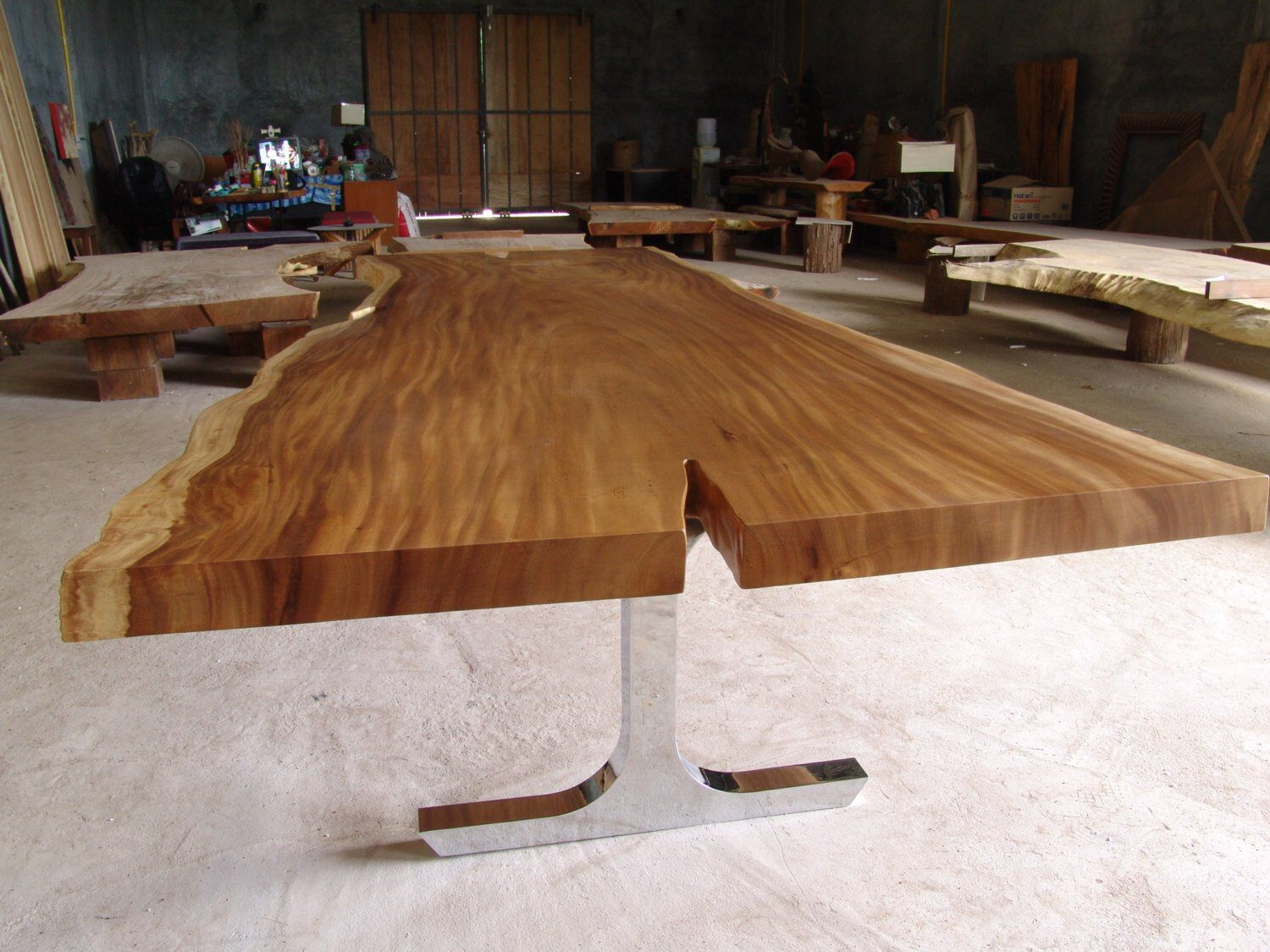 Live edge dining table reclaimed solid slab acacia wood to