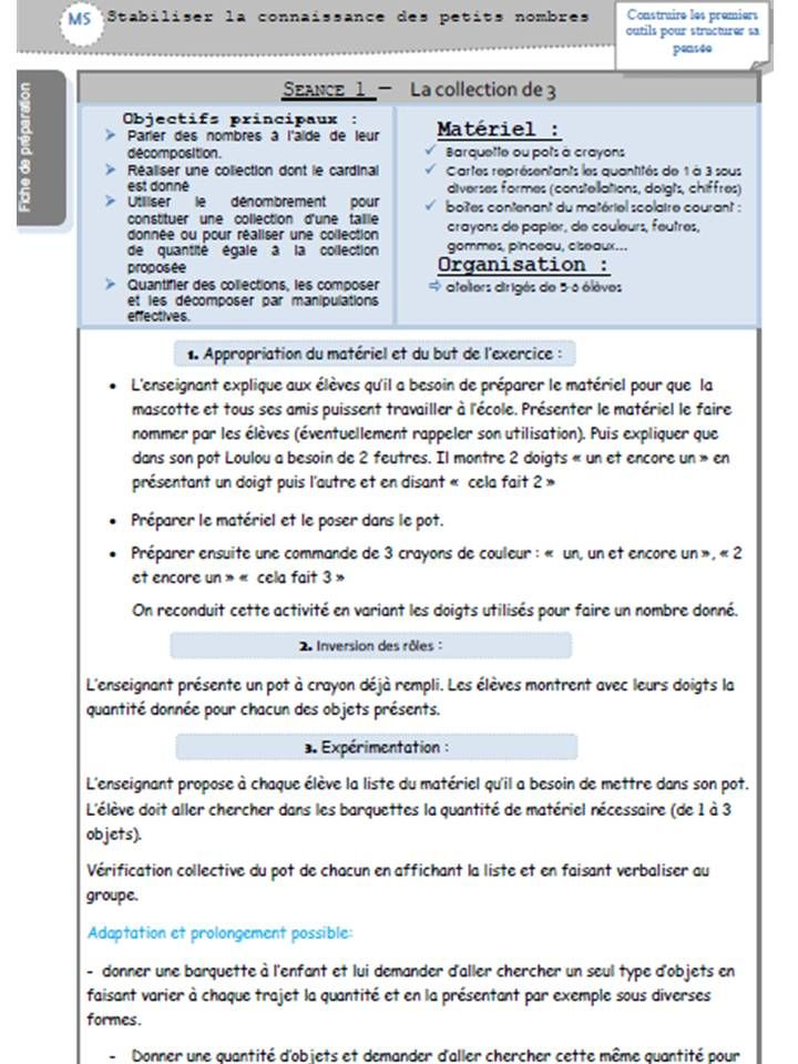 Exceptionnel prep MS P1 nouveau programme Vers les maths lamaterdeflo  PG65