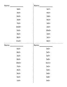 3 Times Table Multiplication Practice Worksheet Free