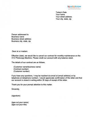 Printable Sample Contract Termination Letter Form Lettering