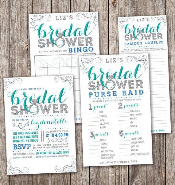 bling bridal shower kit matching bridal shower bingo purse raid famous couples diy modern bridal shower invite sparkle bridal shower