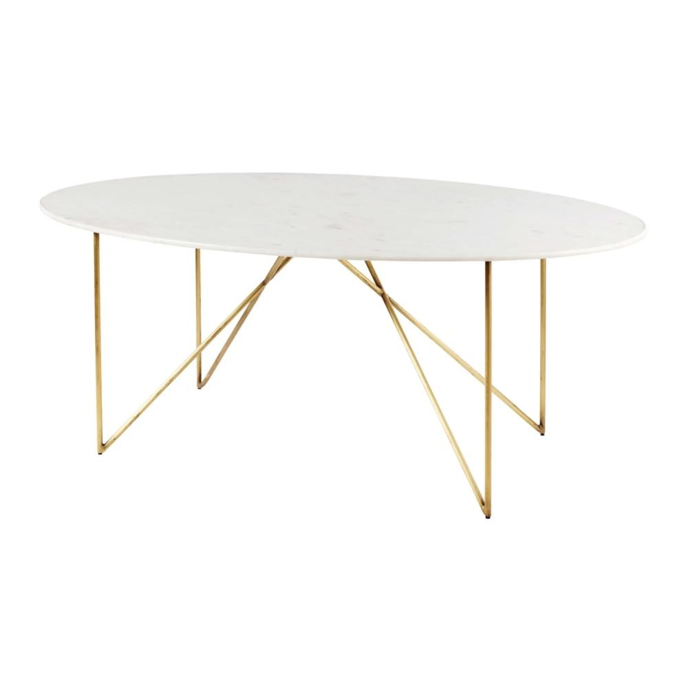 Esstisch für 4 6 Personen aus weißem Marmor und goldfarbenem