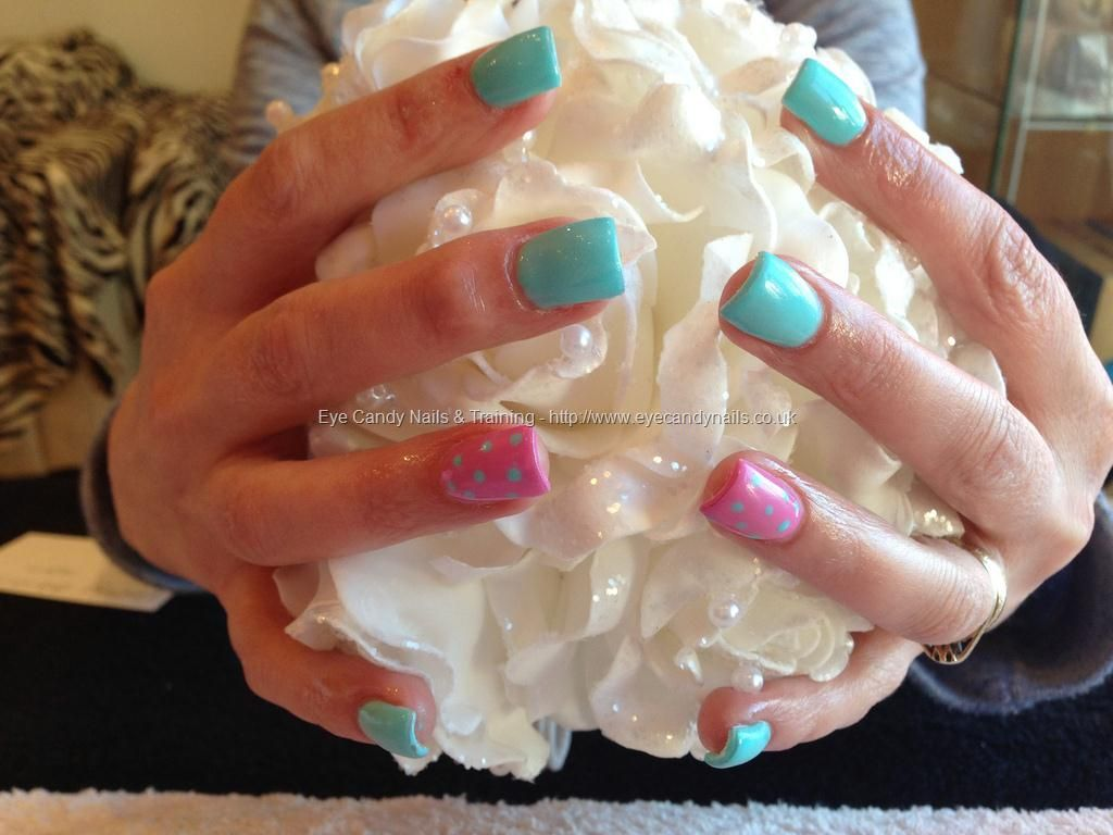 Acrylic+nails+with+pink+and+jade+gelux+gel+polish+with+poker+dots ...