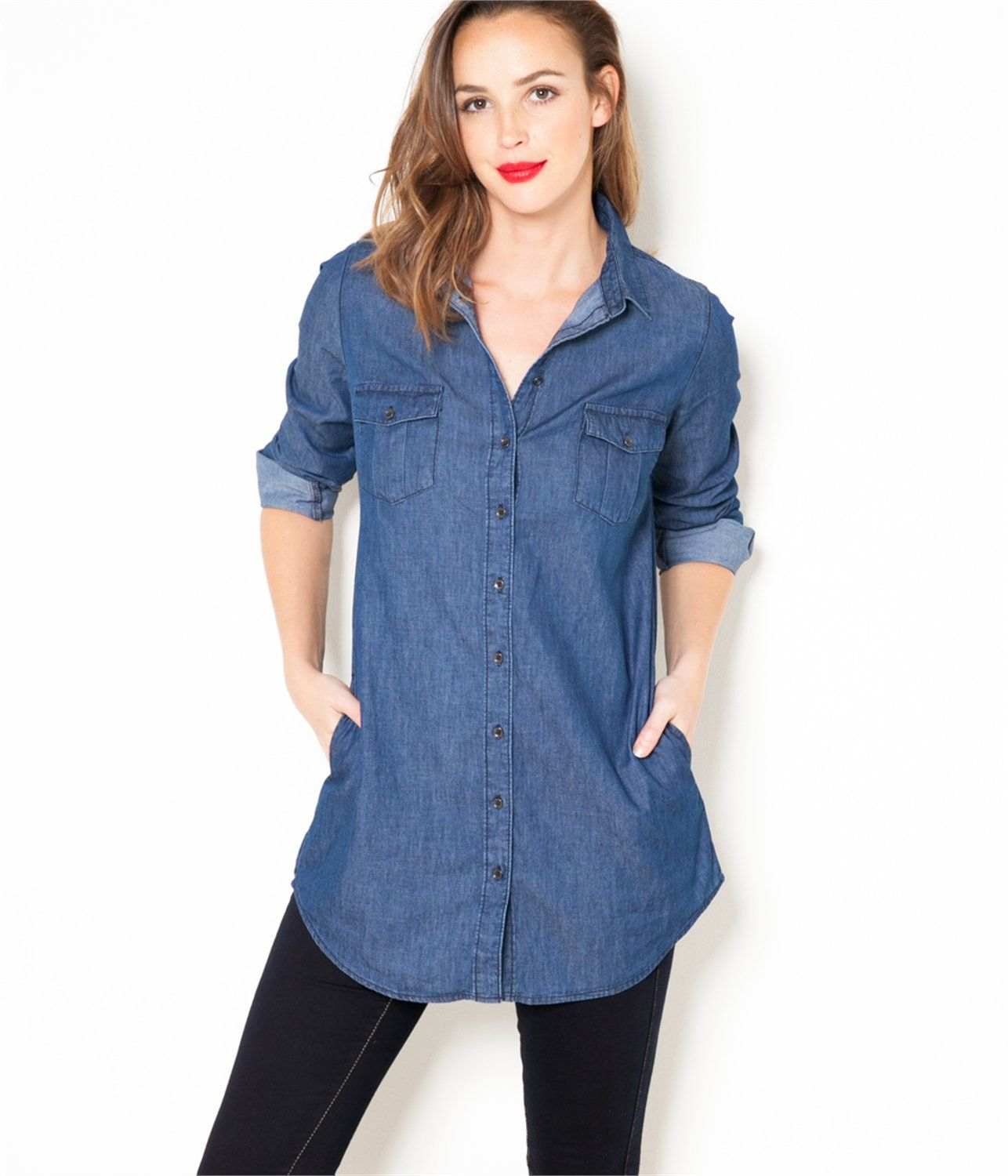 vente tunique femme en denim brut t36 chemisier camaieu une chemise longue mode. Black Bedroom Furniture Sets. Home Design Ideas