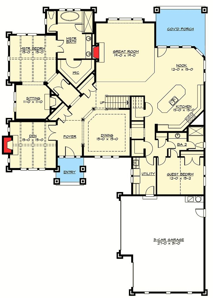 Plan 2374jd 4 Bed Rambler With Vaulted Great Room House Plans Floor Plans How To Plan