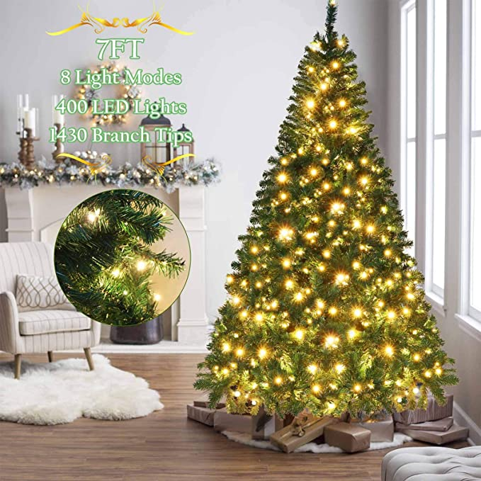 Amazon Com Ourwarm 7ft Pre Lit Artificial Christmas Tree Pvc Xmas Tree With 400 U Best Artificial Christmas Trees Artificial Christmas Tree Led Christmas Tree