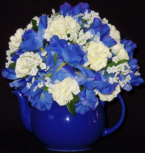 Blue teapot artificial flower arrangement silk floral silk flower arrangement blue iris white by beautyeverlasting mightylinksfo