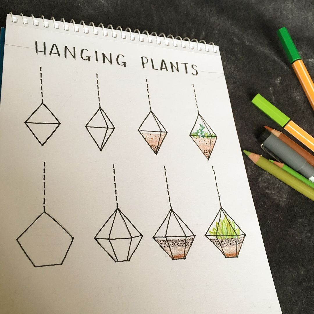 "my bullet journal on Instagram: ""use these cute hanging plants to decorate your bullet journal. fill with your favourite plants (ps-you can always tag me if you use one of…"""