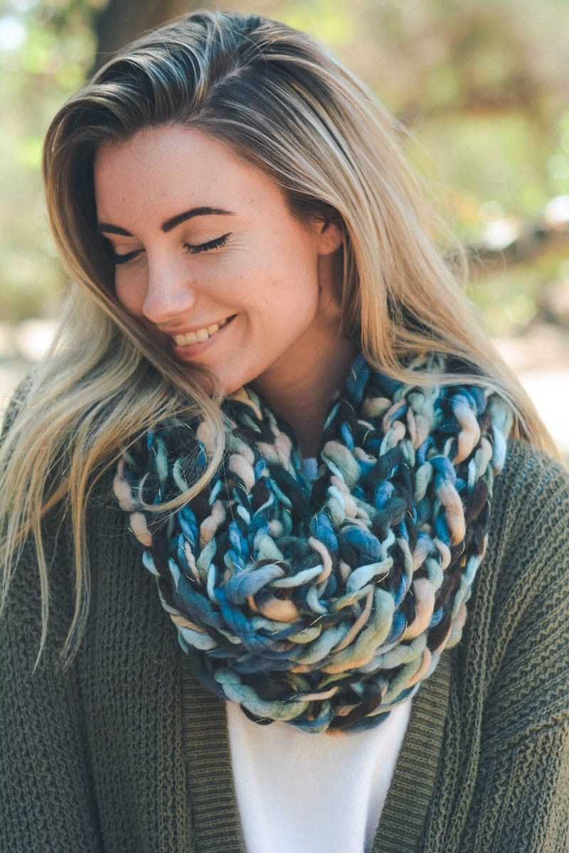 leto wholesale multicolor chunky yarn braided snood cute cozy country chic style trendy blue