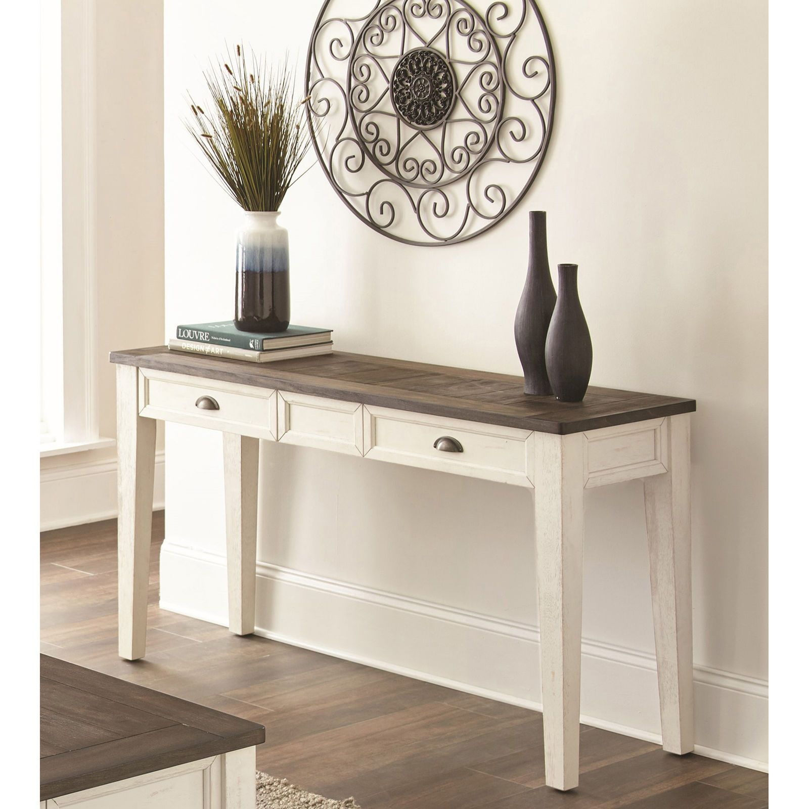 Carly Dark Oak White Sofa Table Mobilier De Salon Deco Entree Deco