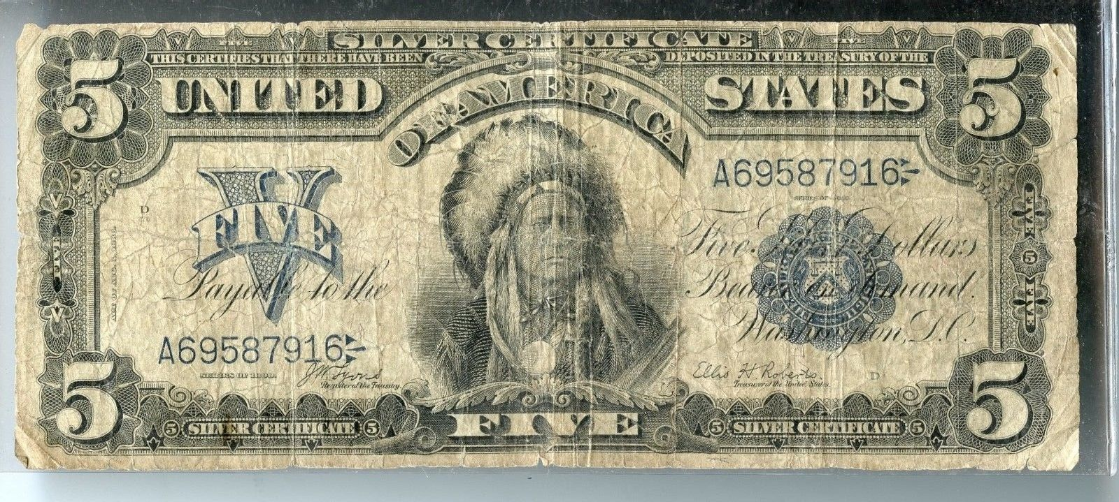 1899 5 Five Dollar Silver Certificate Large Note Vg