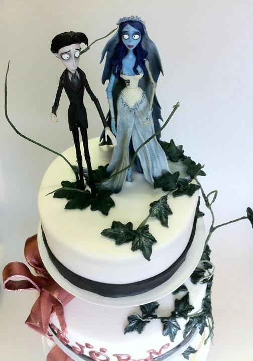 a vegan Tim Burton Wedding Cake by Kim VeganWonderland Wedding
