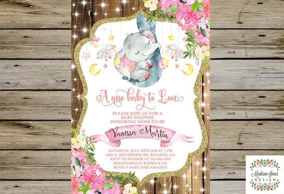 Baby Girl ELEPHANT TRUNK Baby Shower INVITATION, Watercolor Baby Elephant Baby Shower Invite, Custom #elephantitems