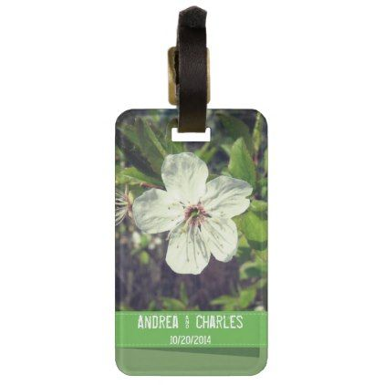 White Blossom Personalized Honeymoon Luggage Tag - bridal gifts bride wedding marriage