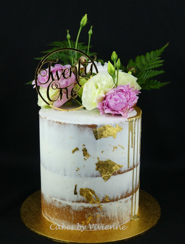 gold leaf cake topper