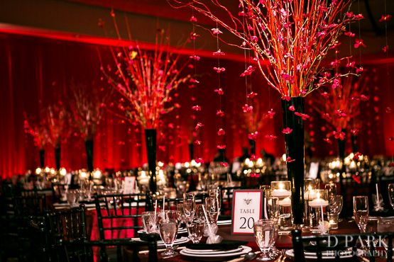 Elegant Red Wedding Centerpieces Amazing By Three