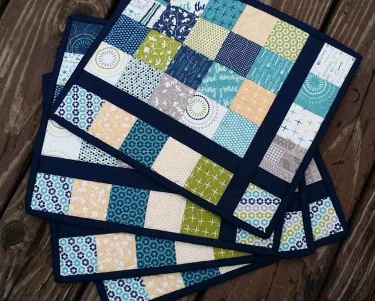 Free Quilt Pattern Almost Plaid Placemats I Sew Free Quilted Placemat Patterns Placemats Patterns Place Mats Quilted