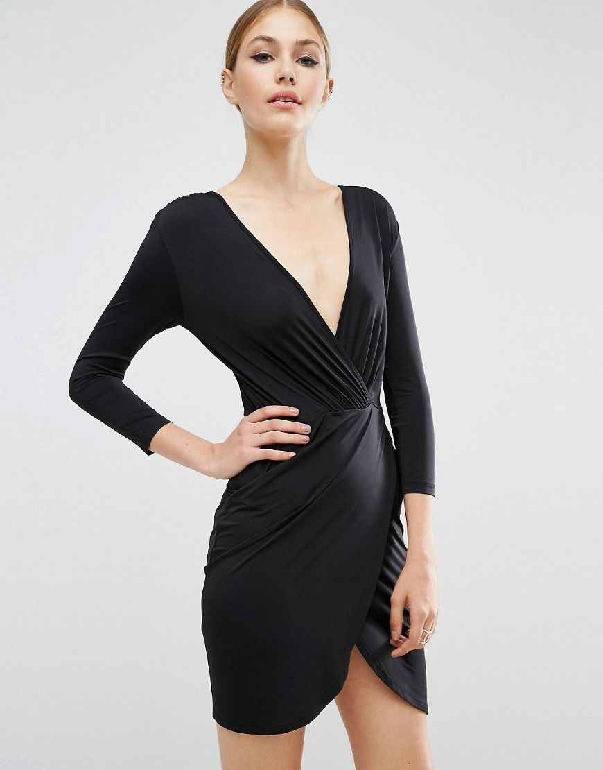 3140518a788b ASOS Slinky Wrap Mini Dress - Black | Products | Dresses, Mini prom ...