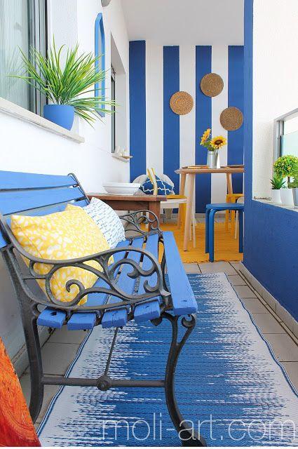 Decoración Terraza En Azul Y Amarillo En 2019 Decoración