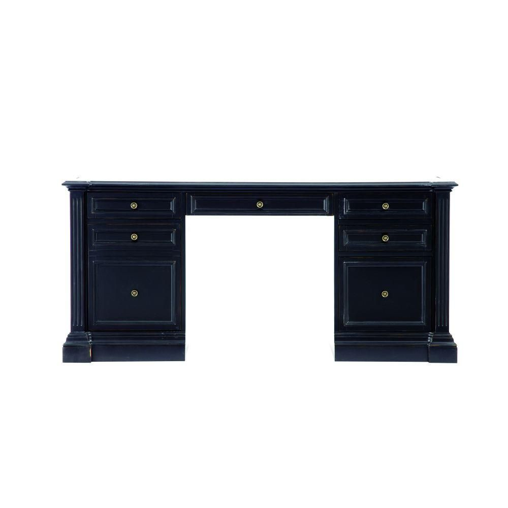 Bufford Rubbed Black Desk With Storage 9485100210 Desk Storage