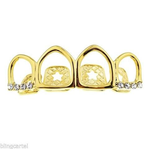 14k Gold Plated Four Open Face Tooth Grillz Top Row Upper Teeth Iced-Out Grills