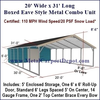 20 X 31 Boxed Eave Style Metal Combo Unit Free Installation