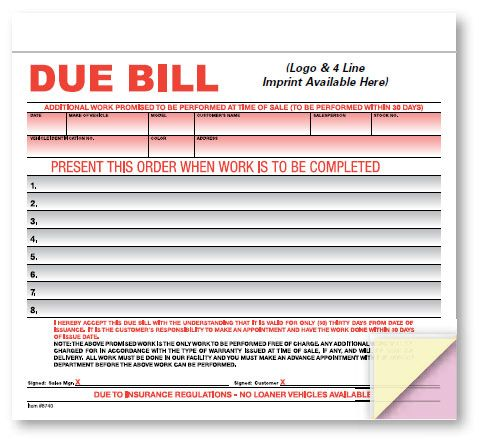 Due Bill - Crash Imprinted Avoid confusion and costly
