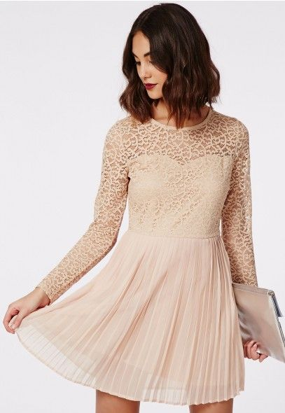 Jenzine Long Sleeve Pleated Skirt Lace Skater Dress Nude - Dresses - Skater Dresses - Missguided | Ireland