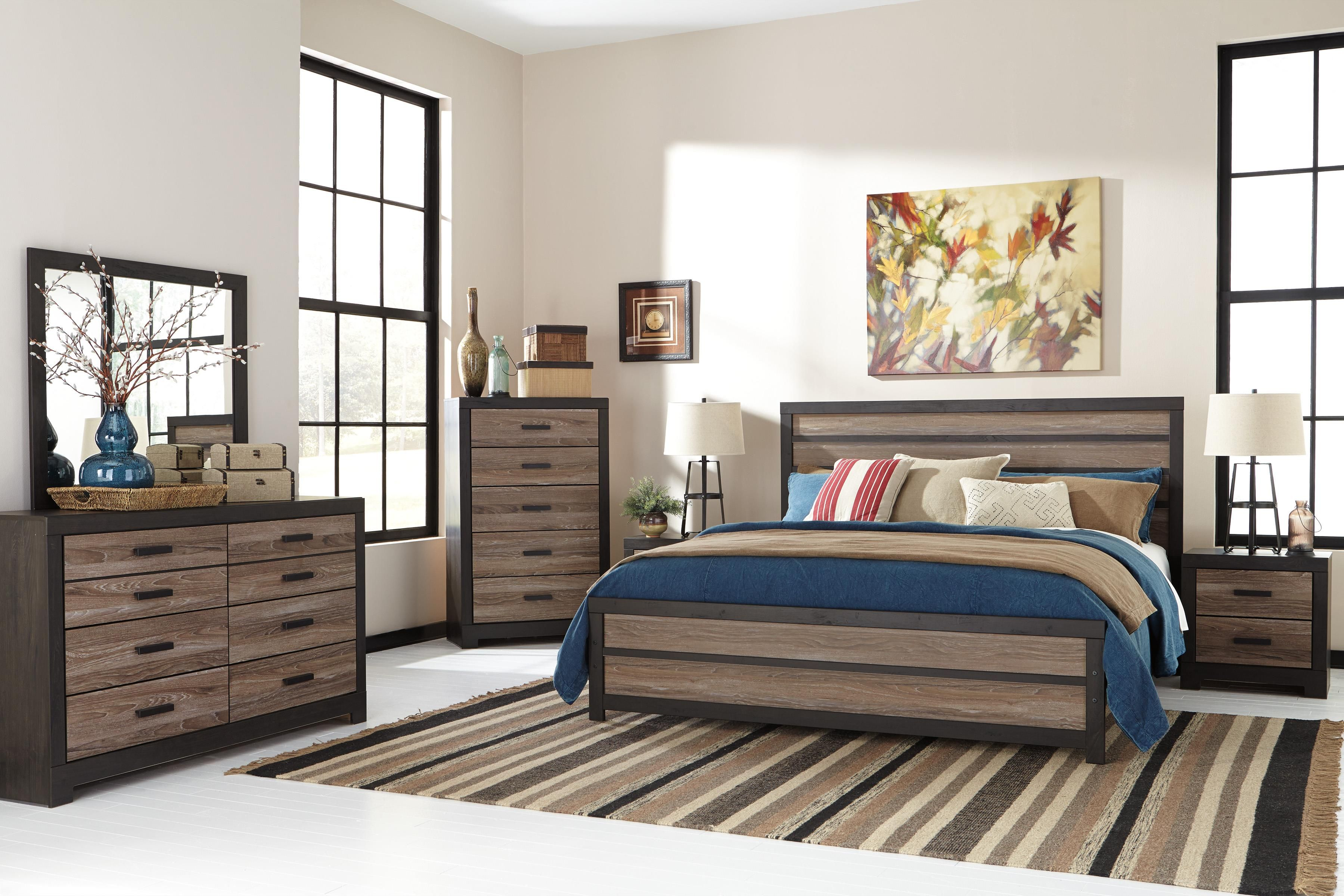 This 5pc bedroom package includes king bed dresser mirror chest nightstand