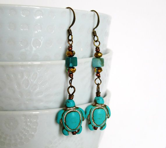 Turquoise Turtles  Turquoise Glass and Copper by MajaEarrings, $15.00